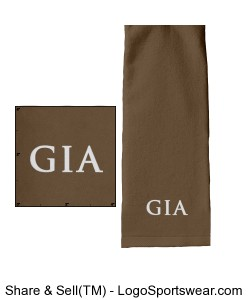 Tri-Fold Golf Towel - Taupe (Embroidered) Design Zoom