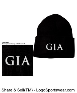 Cuffed Knit Beanie - Black (Embroidered) Design Zoom